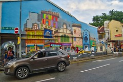 Colorful mural in Little India, Singapore (UweBKK (α 77 on )) Tags: colorful colourful color colour mural wall house paint painting car street road little india littleindia ethnic quarter district singapore southeast asia sony alpha 77 slt dslr
