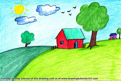 House Scenery for Kids (drawingtutorials101.com) Tags: house scenery for kids scenes architecture scene draw drawing drawings how color pencil pencils sketch speed