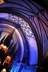 Notre-Dame Basilica in Montreal (jenny_guo) Tags: indoor church light color colorful blue purple interior curve dome line lines travel x xpro2 carlzeiss zeiss touit1832