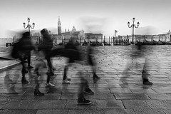 Venice - A Moment in Time II (annemcgr) Tags: venice italy motion movement blur people walking feet rain blackwhite monochrome fineartphotography