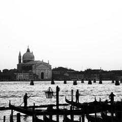 grandcanalatdusk (saracali.gallery) Tags: venice venezia grandcanal church gondola blackandwhite bw