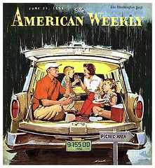 Tailgate Party -- 1956 (JFGryphon) Tags: june211956 washingtonpost tailgateparty americanweekly stationwagon tailgate picnic rollingthunder forkedlightningbolts sitcrosslegged practicalcar roomycar yoga normanrockwellish