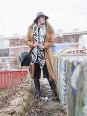 Karen, Amsterdam 2018: Quietly confident (mdiepraam) Tags: karen amsterdam 2018 ndsm portrait pretty attractive beautiful elegant classy gorgeous dutch blonde girl woman lady naturalglamour curls hat coat leather boots skirt mature milf pantyhose tights stockings nylons urbex industrial