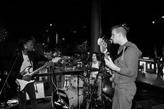 Inside, Or Out? (The_Kevster) Tags: band trio concert gig quadrafon esethevooduupeople london woodgreen greenlanes northlondon glass lights night reflections guitar bass drums nikon dslr d3300 woman girl singer morbar tarshish turkish club street