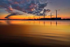 Industrie al tramonto (Zz manipulation) Tags: art ambrosioni autunno arancio fabbrica industria tramonto mare sea