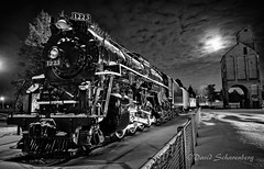 Remnants of the Pere Marquette (dscharen) Tags: trains steamlocomotive locomotive peremarquette 1223 peremarquette1223 grandhaven michigan abandoned preserved lima limalocomotiveworks berkshire 284 blackwhite lightpainting coaltower fullmoon polarexpress railyard display polarvortex