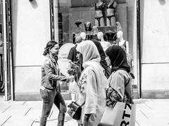 Covered (A. Yousuf Kurniawan) Tags: muslim hijab woman clothes mode model blackandwhite monochrome streetphotography urbanlife walkway walk