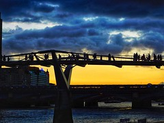 Millennium Bridge Silhouettes (The Phoenix Girl) Tags: thames thamesriver sunset clouds london uk unitedkingdom england europe city cityscape millenniumbridge silhouettes composition londoner londonist nikon greatbritain photography outdoor view skyline riverside