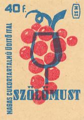 hungarian matchbox label (maraid) Tags: hungarian hungary matchboxlabel packaging food fruit grapes wine drink glass