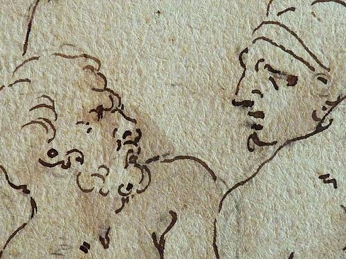 PRIMATICE - Triptyque, Trois Hommes, un Mulet et un Âne auprès d'un Chargement (drawing, dessin, disegno-Louvre INV8574) - Detail 17