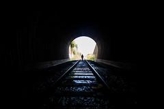 Big Bright Future (Thomas Hawk) Tags: america california eastbay jackson jacksonpeterson pointrichmond richmond usa unitedstates unitedstatesofamerica silhoutte traintracks traintunnel tunnel fav10 fav25 fav50 fav100