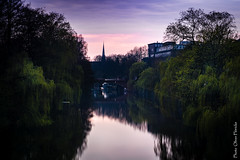 View from a bridge (floerioHH) Tags: 2018 trees canal hamburg xt20 bridge barmbeksüd water house city green church reflection fujifilm sky hdr
