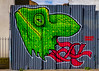 The Chameleon Head (Steve Taylor (Photography)) Tags: frankiestrand chameleon head decapitated tendons graffiti mural streetart fence green red uk gb england greatbritain unitedkingdom london