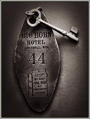 Lock opener (Bob R.L. Evans) Tags: skeletonkey greybullwyoming sepiatone browntone hotelkey composition unusual pov symbol availablelight