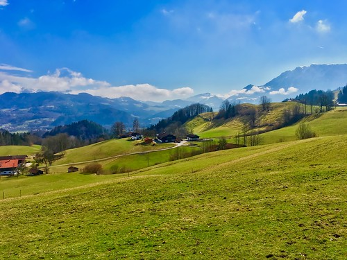 Bavarian landscape with the Alps near Oberaudorf, Germany