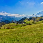 Bavarian landscape with the Alps near Oberaudorf, Germany thumbnail
