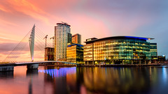 Media City (2 of 3) (dsdige) Tags: media city manchester salford sunset bbc blue hour urban modern architecture