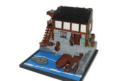 Pirate Bay! (Elijah Chamberlain) Tags: lego legos moc mocs build pirate cove pirates black sails carribean tavern water snot