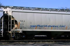 They're not wrong (Jeff Carlson_82) Tags: fmlx 2021 hopper coveredhopper plastic pellets lawrence ks kansas up freightcar graffiti tagging donaldtrump trump train railroad railfan railway unionpacific