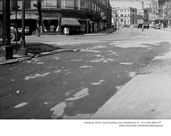 Looking up  Clinton Ave to N. Pearl from Quackenbush st   circa 1940 (albany group archive) Tags: white tower restaurant grand theater palace old albany ny vintage photos photograph picture history historical historic