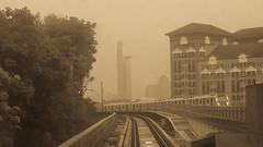 MRT Petaling Jaya (Ahmed N Yaghi) Tags: line station damansara jaya petaling way rail tower tm malaysia mrt train city road building tree sky monochrome mist