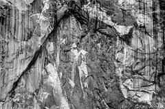 Yosemite Valley - El Capitan Detail_B&W_0186 (www.karltonhuberphotography.com) Tags: 2013 aweinspiring bw blackandwhite california chips cliffface closeup cracks details elcapitan erosion geologicformation geologichistory geologicwonder geology granitewall isolation karltonhuber landscape massive monolith nature nikkor70300mm nikond7000 patterns rockface rockwall stains texture yosemite yosemiteconservancy yosemitenationalpark yosemitevalley