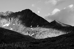 Day 38 of 40; moonrise (photography by Derek G) Tags: moon sky monochrome mountains mountain clouds shadow sunlight dack blackandwhite contrast landscape moonscape wilderness highsierra dark light yosemite nationalpark storm passingstorm canvas moonrise camping backpacking hiking