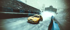 Snowflake Heaven (polyneutron) Tags: photography motorsport toyota celica yellow rally dirt pc automotive winter snow blizzard motion