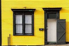 Yellow & Black (Karen_Chappell) Tags: yellow black door window house home stjohns jellybeanrow paint painted wood wooden trim clapboard avalonpeninsula atlanticcanada canada eastcoast downtown city urban hose rowhouse white architecture