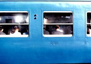 Schoolkids, humid train, Kyoto, Japan. 1987.