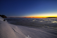 Water on ice (Taavi Salakka) Tags: water lake ice sunset late dusk stars sun snow winter finland natureoffinland night lappeenranta saimaa canon 5d 1740mm