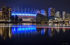 BC Place Blues (Clayton Perry Photoworks) Tags: vancouver bc canada spring explorebc explorecanada skyline night lights reflections bcplacestadium blue