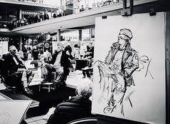 96/365 The Big Draw (denise.ferley) Tags: blackandwhitephotography oneaday uk citylife life thisisnorwich thisisengland norwich drawing artists art fun peoplewatching