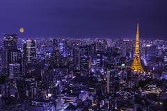 The moon in Tokyo (Mustafa Kasapoglu) Tags: roppongihills roppongi tokyo japan night nightphoto nightphotography nightshot moon city cityscape citylife cities skyscraper skyscreaper skyscreapers