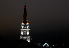 night (photoksenia) Tags: dmcgm5 night odessa street church tower architecture building clock