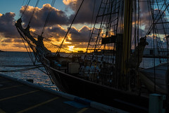Leeuwin (steviem-101) Tags: sunset leeuwin sailing masts ship fremantle harbour clouds ropes bshed wharf