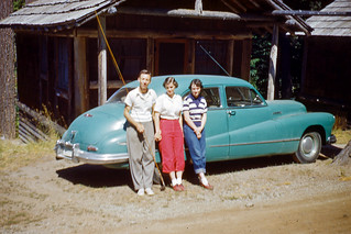 Kodachrome Slide of Man & Two Women at Car, 1950s