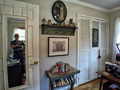 Self-Portrait in My Drawing Studio / Guest Room (steveartist) Tags: room wall antiquephoto mirror man seniorcitizen artist stevefrenkel door closetdoors calendar drawing frameddrawing bookcase bookends books woodfloor artsupplies tissueholder window drapes table cart iphonese snapseed wideanglephoto apexel16mmlens