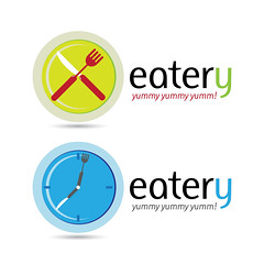 Eatery (hammadkhalid8) Tags: logo identity brand corporate color colorful background element graphic design symbol sign emblem logotype illustration creative style stylish modern company business template elegant beautiful icon abstract branding art vector creativity isolated set collection eatery eat food restaurant fork knife clock time dinner lunch yummy blue green delicious hangry fastfood fast plate meal appetite slogan typography cross