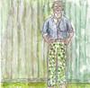 # 286 2018-03-28 (h e r m a n) Tags: herman illustratie tekening 10x10cm tegeltje drawing illustration karton carton cardboard kunst art man muur wall male groen green