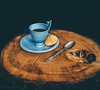 rustic but sophisticated (WillemijnB) Tags: cup saucer spoon rough rustic vintage black blue tea coffee trunk wood wooden biscuit cookie silverware