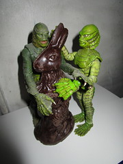 Easter Creature and Chocolate Rabbit 9066 (Brechtbug) Tags: easter creature chocolate bunny rabbit 2018 universal pictures studio black lagoon monsters new york city undead zombie cadaver horror terror halloween fright toy toys moody shadow shadows face portrait 1954 movie film hollywood fish man gill gillman collectable collectible type lite light holiday gloomy goth gothic action figure chocolates eeeaster april fools green 04012018