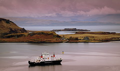 Kerrera (Rollingstone1) Tags: kerrera mull isle island isleofmull scotland sea mvcoruisk ferry boat ship sailing sky maritime hills mountains calmac oban innerhebrides buildings houses water bay landscape seascape