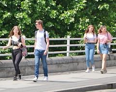 Waterloo Bridge People (Waterford_Man) Tags: teens london jeans girls boy candid people path
