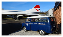 So ahead of it's time! (The Stig 2009) Tags: bedford vintage minibus blue white boac corporation aircraft overseas british concorde museum supersonic aeroplane airplane airways nikon brooklands sky clear