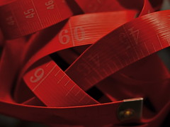 The Red Mile (Partial View) (MPnormaleye) Tags: tape numbers measurements inches meters marking red crimson rose curled snarled confused utata 56mm lensbaby seeinanewway macro