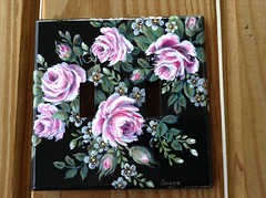 sherrylpaintz pink roses painting on a double light switch cover (sherrylpaintz) Tags: sherrypaintz ooak painting artist pinkroses rosebuds original wildlife nature flower bouquet lightswitch cover pink roses