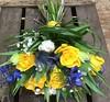 Spring Time (Flowers by Moonstones - Fareham Florist) Tags: spring yellow blue muscari wedding marriage bridal fareham florist tulip delphinium eryngium