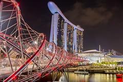 Singapore Marina Bay (Johannes R.) Tags: singapore marina bay night dark long exposure helix bridge sands hotel light illumination wideangle canon 70d asia city architecture building red double perspective