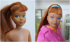 4. Skipper before and after (Foxy Belle) Tags: skipper before after vintage doll barbie titian hair lip repaint tlc makeover spa straight bangs
